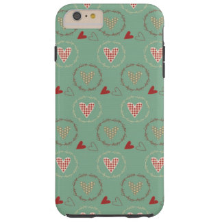 Teal Primitive Country Style Gingham Hearts Tough iPhone 6 Plus Case