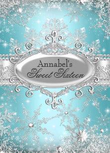 a6fbccb4add4 Teal Princess Winter Wonderland Sweet 16 Invite