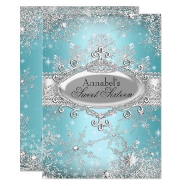 Zizzago Teal Princess Winter Wonderland Sweet 16 Invite