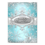 Teal Princess Winter Wonderland Sweet 16 Invite