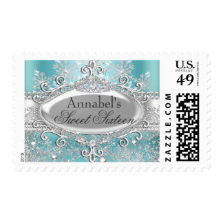 Teal Princess Winter Wonderland Sweet 16 Stamp