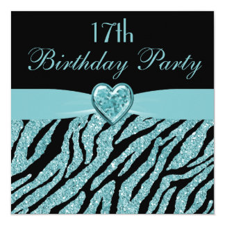 Teal Printed Heart & Zebra Glitter 17th Birthday Card