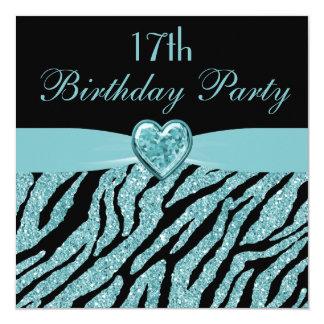 Teal Printed Heart & Zebra Glitter 17th Birthday 5.25x5.25 Square Paper Invitation Card
