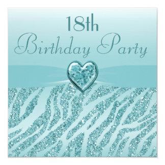 Teal Printed Heart & Zebra Glitter 18th Birthday Card