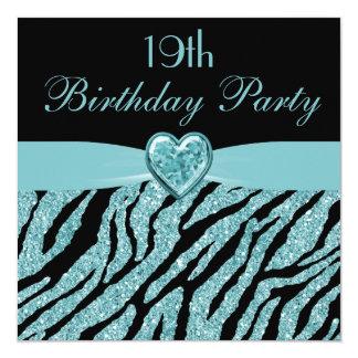 Teal Printed Heart & Zebra Glitter 19th Birthday Card