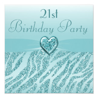 Teal Printed Heart & Zebra Glitter 21st Birthday Card