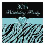 Teal Printed Heart & Zebra Glitter 30th Birthday Personalized Invitation