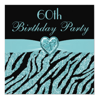 Teal Printed Heart & Zebra Glitter 60th Birthday Card