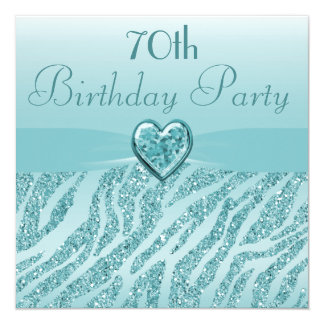 Teal Printed Heart & Zebra Glitter 70th Birthday Card