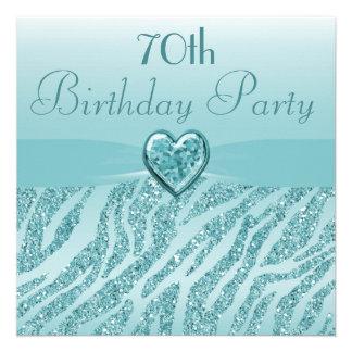 Teal Printed Heart Zebra Glitter 70th Birthday Personalized Invitations