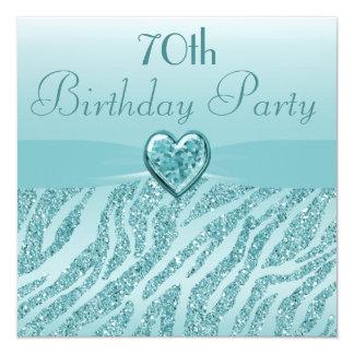 Teal Printed Heart & Zebra Glitter 70th Birthday 5.25x5.25 Square Paper Invitation Card