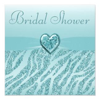 Teal Printed Heart & Zebra Glitter Bridal Shower Card