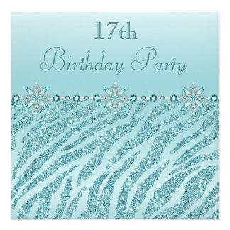 Teal Printed Jewels & Zebra Glitter 17th Birthday Card