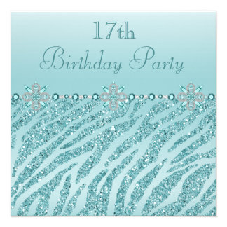 Teal Printed Jewels & Zebra Glitter 17th Birthday 5.25x5.25 Square Paper Invitation Card