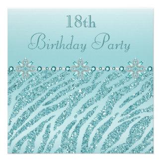 Teal Printed Jewels Zebra Glitter 18th Birthday Invite