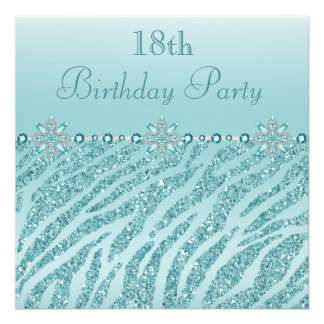 Teal Printed Jewels & Zebra Glitter 18th Birthday Invite