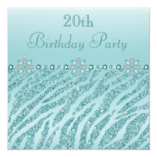 Teal Printed Jewels & Zebra Glitter 20th Birthday 5.25x5.25 Square Paper Invitation Card