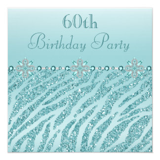Teal Printed Jewels & Zebra Glitter 60th Birthday Card