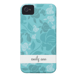 Teal Printed Rose Vines Pattern iPhone 4 Case-Mate Cases