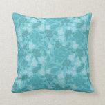 Teal Printed Rose Vines Pattern Throw Pillow