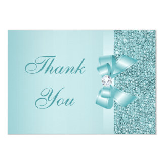 Teal Printed Sequins Bow & Diamond Thank You 3.5x5 Paper Invitation Card