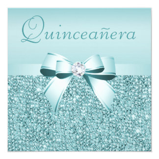 Teal Printed Sequins & Bow Quinceanera 5.25x5.25 Square Paper Invitation Card