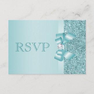 Teal Printed Sequins Wedding RSVP