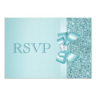 "Teal Printed Sequins Wedding RSVP 3.5"" X 5"" Invitation Card"