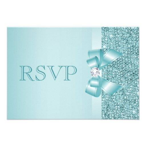Teal Printed Sequins Wedding RSVP Invite