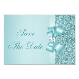 Teal Printed Sequins Wedding Save the Date 3.5x5 Paper Invitation Card