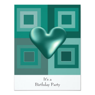 Teal  Puffy Heart Birthday Invitation