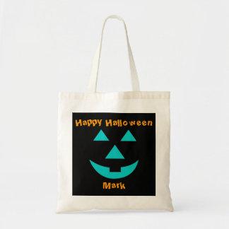 Teal Pumpkin Face Halloween Treat Bag
