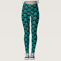Teal Pumpkin Halloween Pumpkins Pattern Leggings