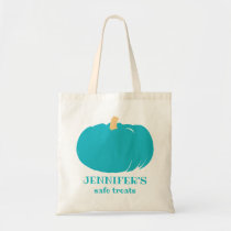 Teal Pumpkin Kids Allergy Personalized Halloween Tote Bag