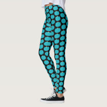 Teal Pumpkin Pattern Halloween Allergy Awareness Leggings