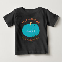 Teal Pumpkin Personalized Allergy Halloween Kids Baby T-Shirt