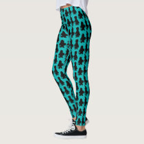 Teal Pumpkin Trick or Treat Halloween Silhouette Leggings