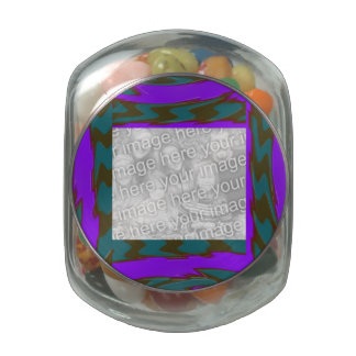 Teal Purple abstract frame Jelly Belly Candy Jar