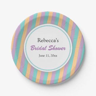 teal purple and orange bridal shower paper plate