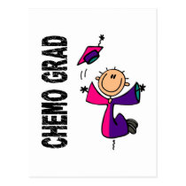 Teal, Purple, and Pink CHEMO GRAD 1 Thyroid Cancer Postcard