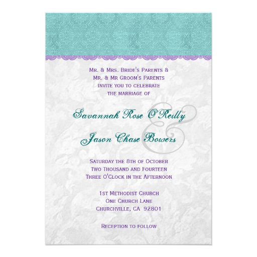 Teal Purple And Silver Wedding Template V01 5x7 Paper