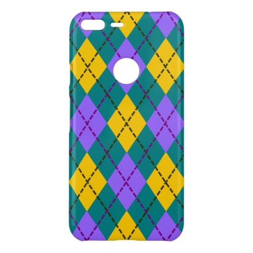 Teal Purple and Yellow Argyle Diamond Pattern Phone Case