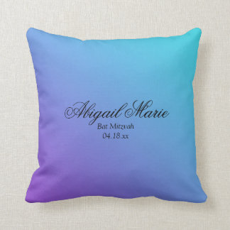 Teal Purple Bat Mitzvah Personalized Throw Pillow