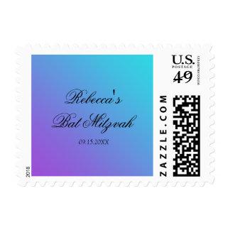 Teal Purple Bat Mitzvah Postage Stamp