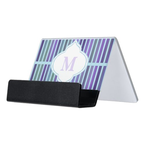Teal Purple Blue Green Stripe Monogram Desk Business Card Holder