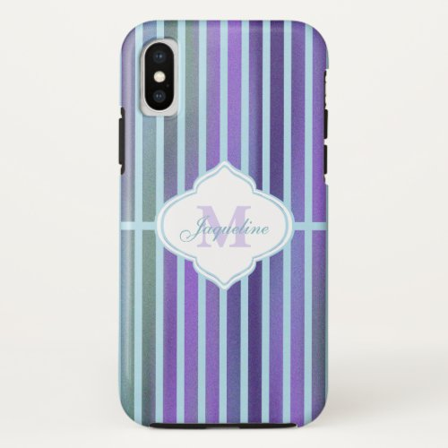 Teal Purple Blue Green Stripe Monogram iPhone X Case