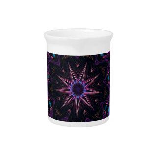 Teal Purple Blue Kaleidescape Floral Pattern Drink Pitcher