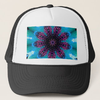 Teal Purple Blue Kaleidescape Floral Pattern Trucker Hat