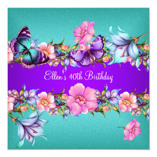 Teal Purple blue Pink Butterfly Birthday Party Card