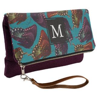 Teal Purple Butterflies Swarm - Personalized Clutch